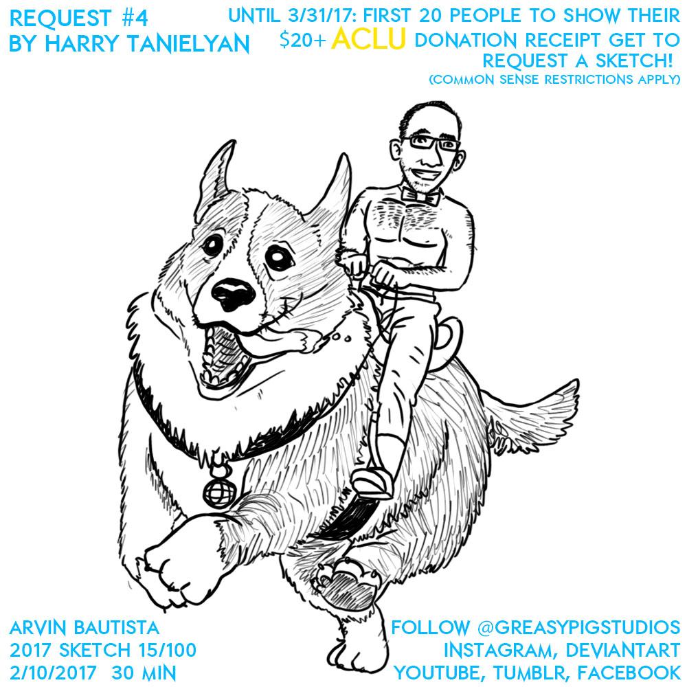 Arvin Bautista 2017 15/100: Harry Riding Corgi by greasypigstudios