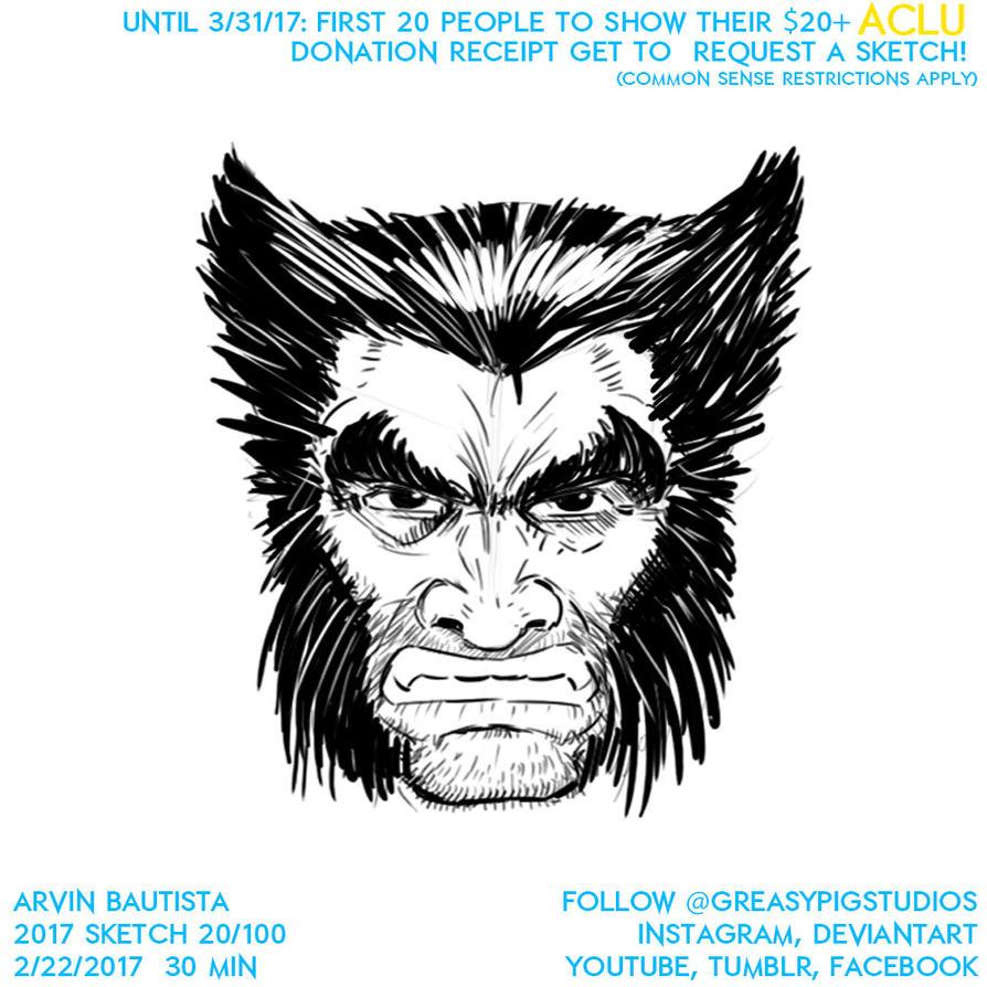 20 Arvin Bautista Sketches 2017 20/100: Wolverine by greasypigstudios