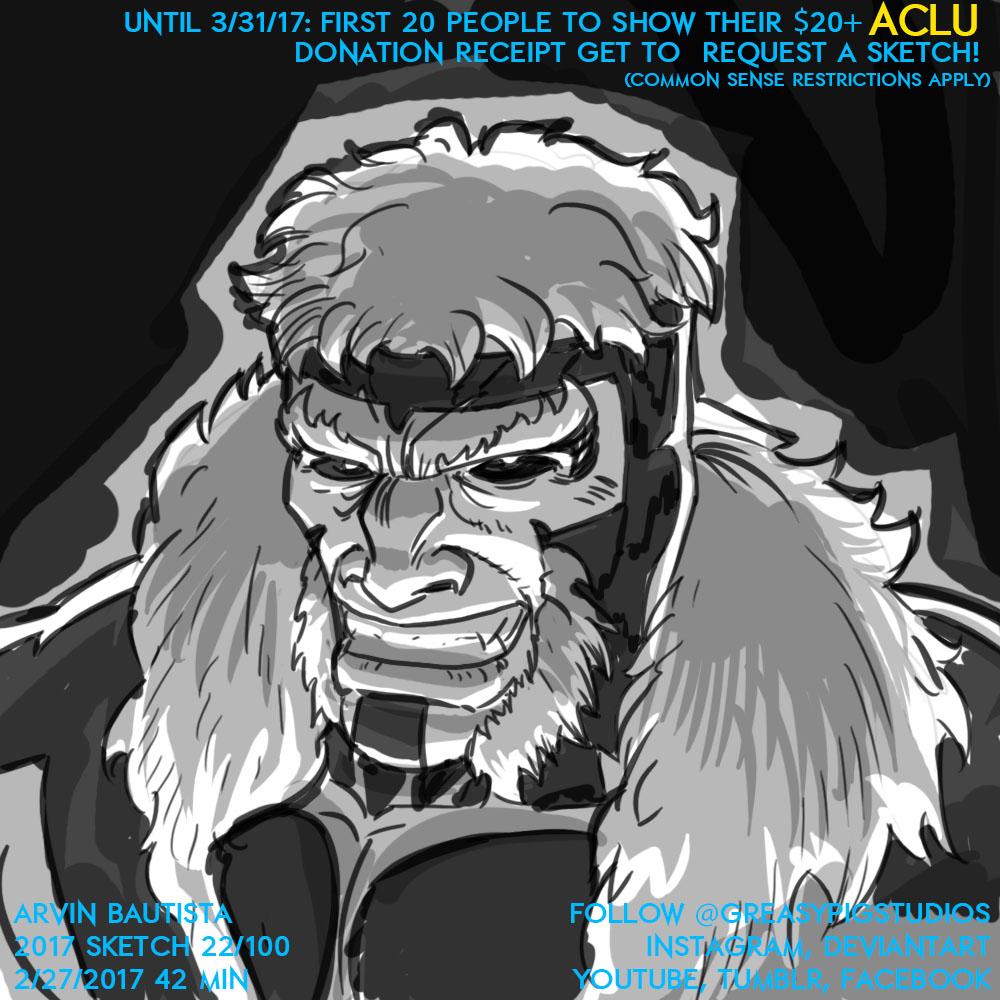 Arvin Bautista Sketches 2017 22/100: Sabretooth by greasypigstudios