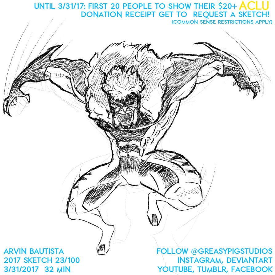 Arvin Bautista Sketches 2017 23/100: Sabretooth 2 by greasypigstudios