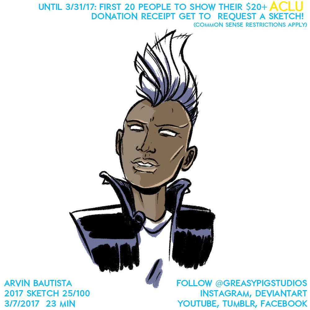 Arvin Bautista Sketches 2017 26/100: Storm by greasypigstudios
