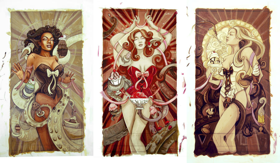 Ice Cream Cthulhu Triptych - Color Studies by echo-x