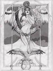 Falcon Queen (Freyja) Sketch Work in Progress by echo-x