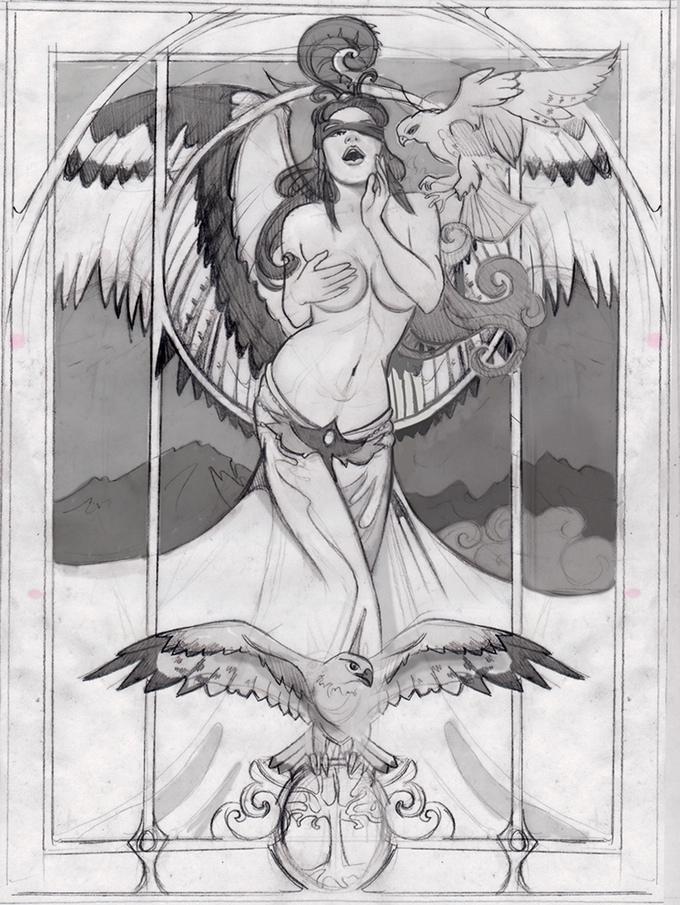 Falcon Queen (Freyja) Sketch Work in Progress
