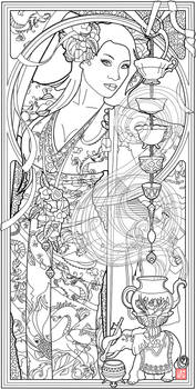 Goddess of Tea by Echo Chernik Coloring Page