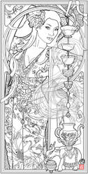 Goddess of Tea by Echo Chernik Coloring Page by echo-x