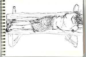 A Drawing Of a Friend On A Bench by ergman