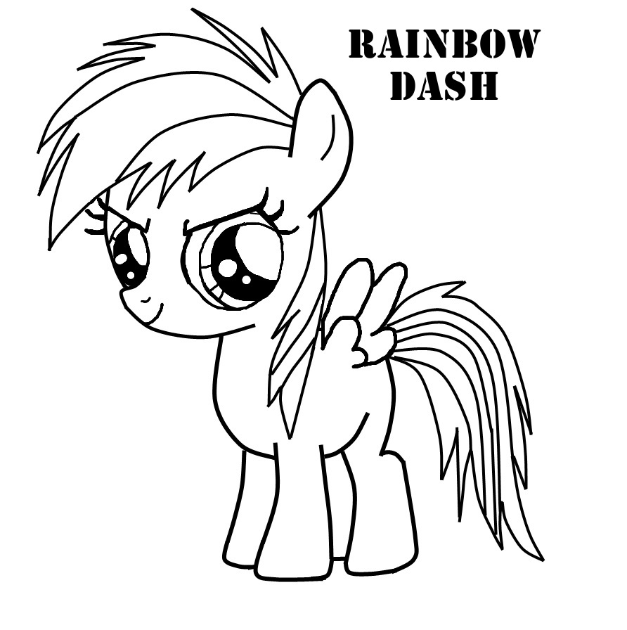 pony coloring page rainbow dash young rainbow dash by