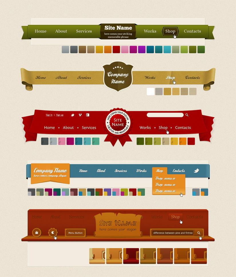Headers and Navigation Web Kit by AnnaLitvinuk