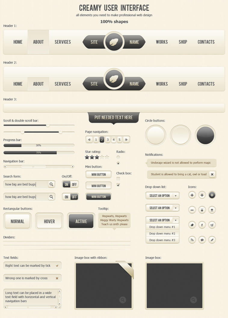 Creamy User Interface by AnnaLitvinuk