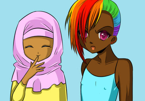 humanized rainbow dash and fluttershy