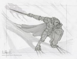 WoW Worgen Prot Warrior Sketch by Dreamspirit