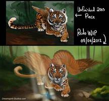 Feathered Tigress - WIP - 02 by Dreamspirit