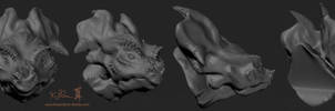 ZBrush - Week 1 - Multi-Angle  Dinosaur Sketch by Dreamspirit