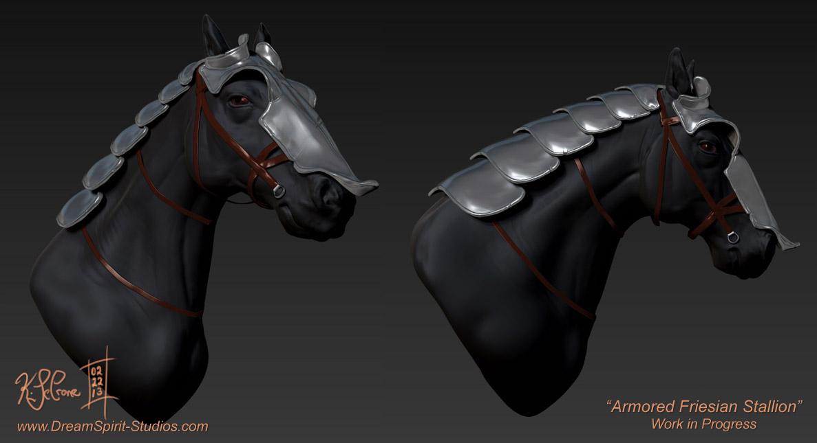 ZBrush - Week 5 - Armored Friesian Stallion WIP by Dreamspirit