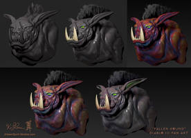 ZBrush - Week 6 - Fallen Hound - Color Process by Dreamspirit