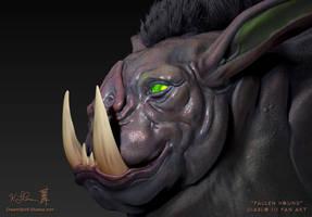 ZBrush - Week 6 - Fallen Hound  - Close-Up by Dreamspirit