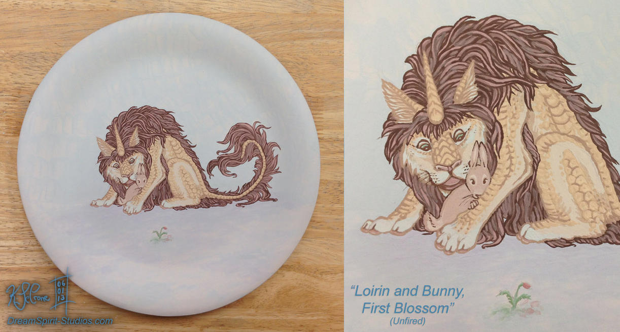 Loirin and Bunny, First Blossom - Unfired Plate by Dreamspirit