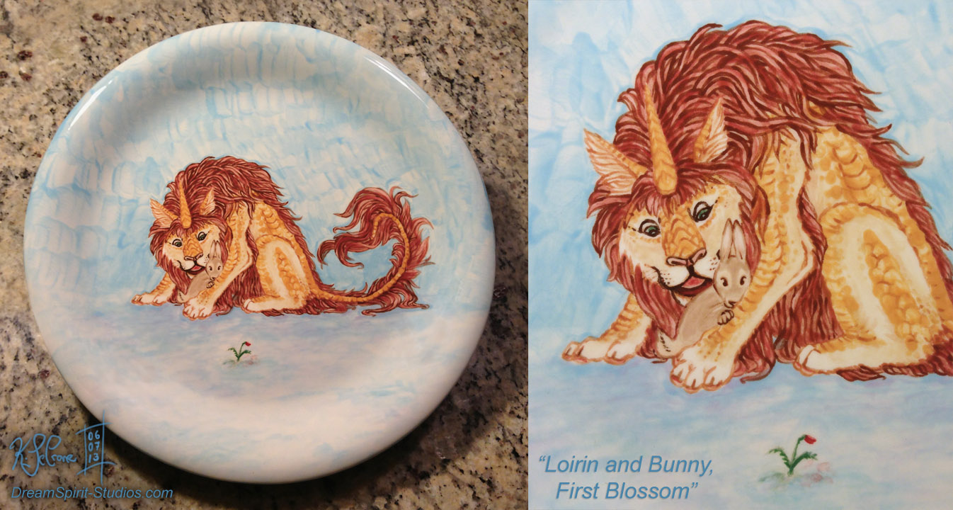 Loirin and Bunny, First Blossom - Fired Plate by Dreamspirit