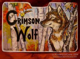 Crimson Wolf:CompletedConbadge by Dreamspirit