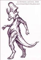 Dino Gal Pen Sketch by Dreamspirit