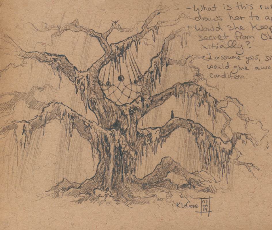 The Whispering Tree Sketch by Dreamspirit