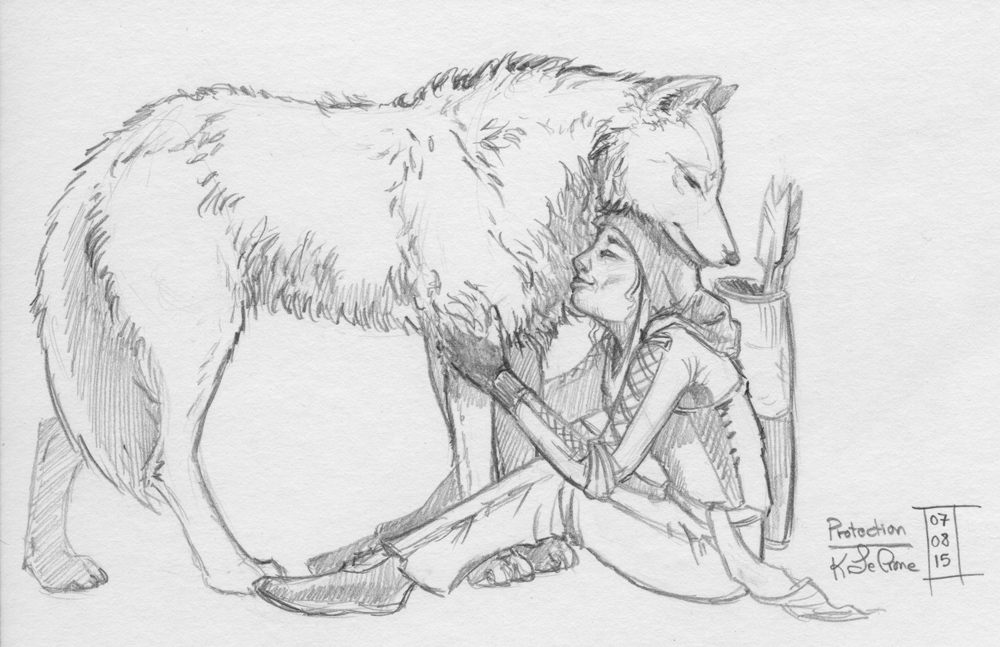 30 Day Story-Sketch Challenge: Day 2: Protection by Dreamspirit