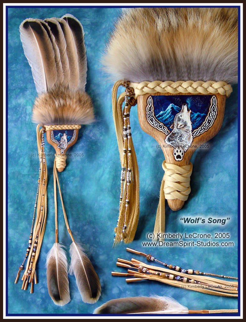 Wolf's Song Five Feather Fan by Dreamspirit