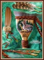 EarthenHawk-Gryphon FeatherFan by Dreamspirit