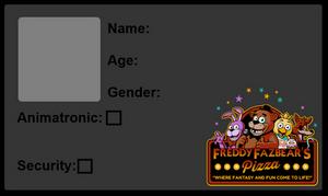 Feddy's Fazbear Pizzaria - ID Card
