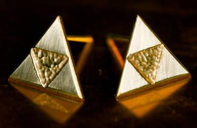 Triforce Earrings by obsidiandevil