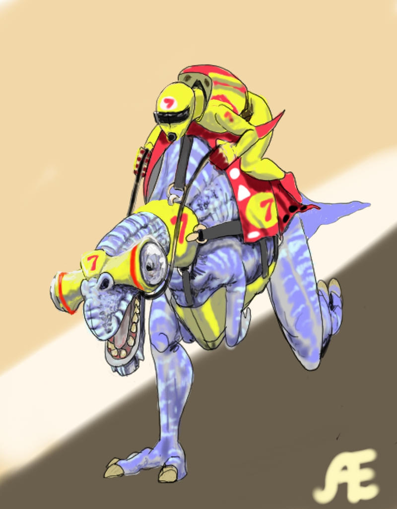 DSG 1348: Character/Creature: HELMETED RIDER ON SPEEDING ALIEN RACER BEAST
