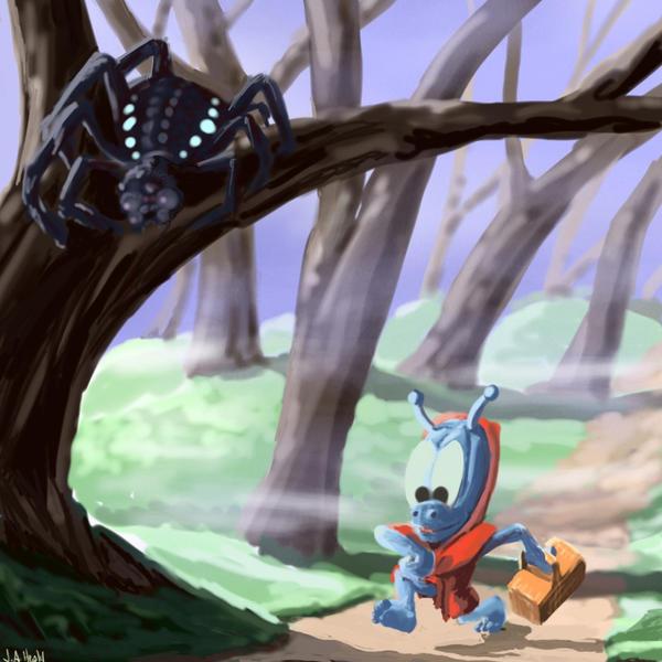 "DSG 1351: Creature: FREAKY ALIEN ""TREE SPIDER"" WAITS FOR PREY TO WALK BELOW"