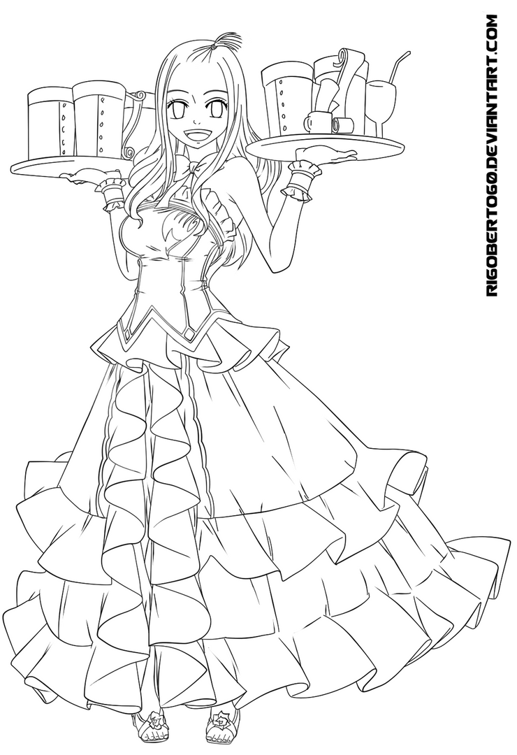 Mirajane fairy tail line art sketch coloring page - Fairy tail a colorier ...