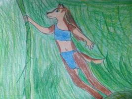 Jungle Aleu - Vine Swinging Happily... by DeviantSponge45