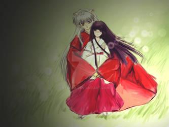 Kikyo and Inuyasha by Lescca