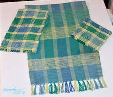Woven Table Runner, Kitchen Towel, and Wash Cloth by sioranth
