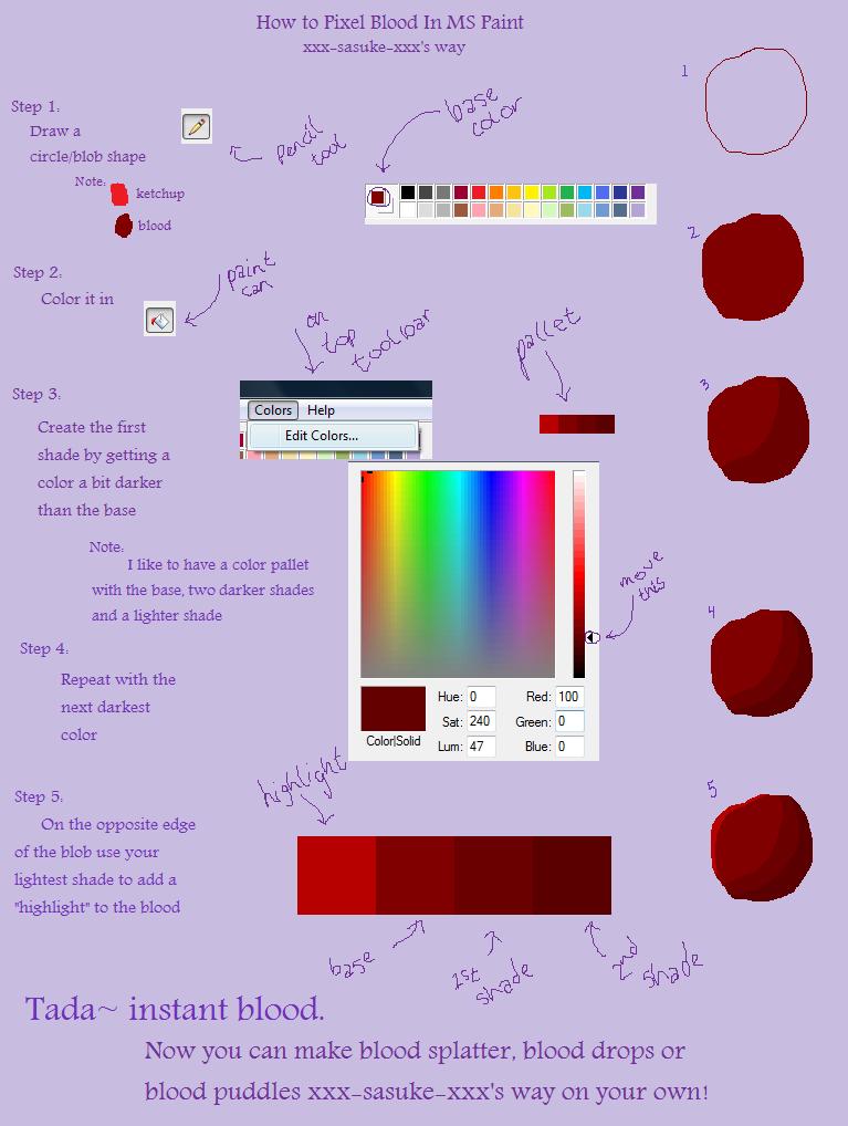 How To Pixel Blood on MS Paint by xxx-sasuke-xxx