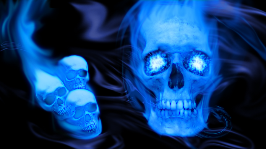 blue wallpaper skull - photo #18
