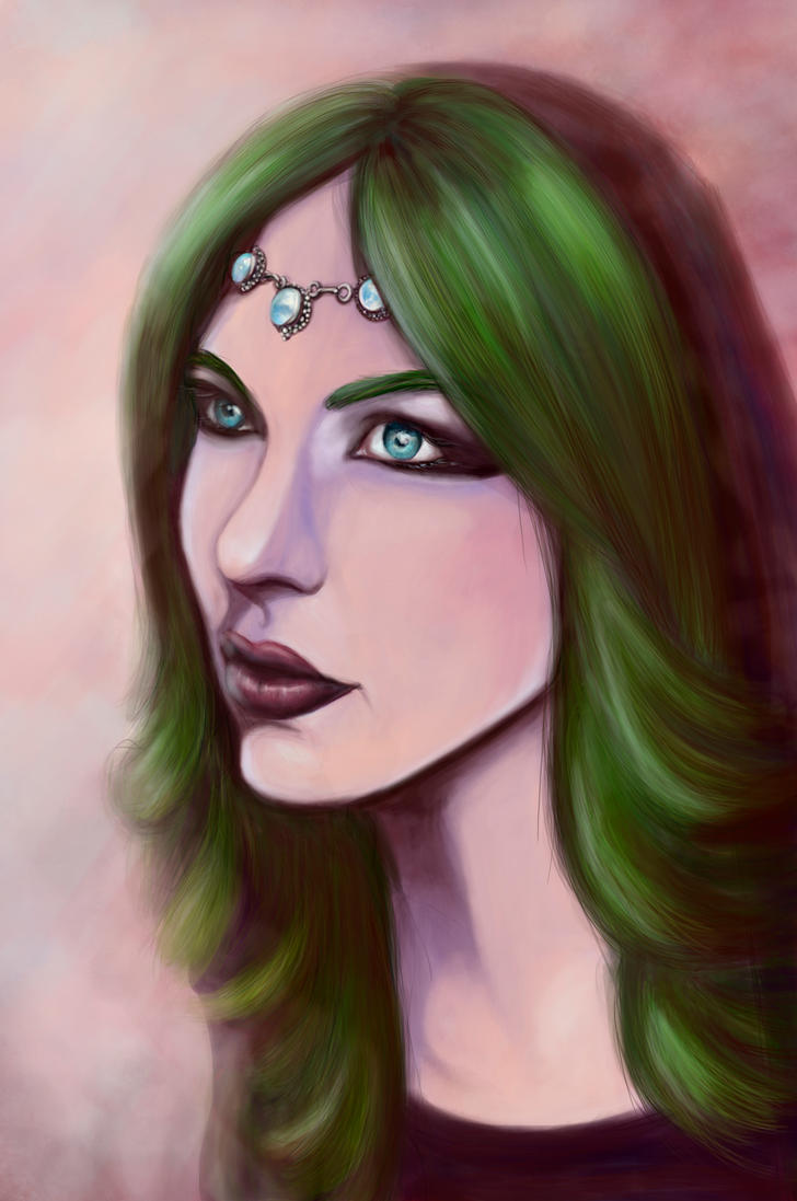Lady with Green Hair by GreenGryphon