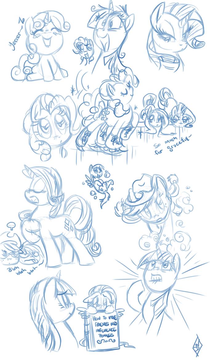 Random Pony Sketchdump by WhiteDiamondsLtd