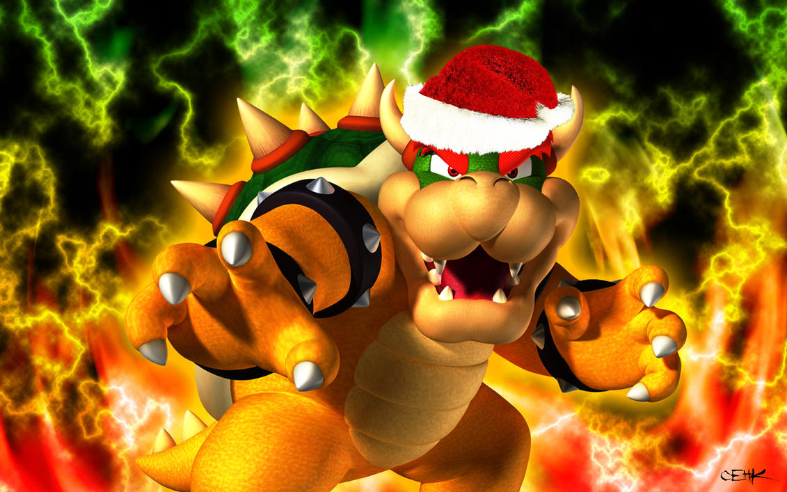 bowser wallpaper christmas version by master cehk on