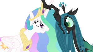 Princess Celestia and Queen Chrysalis Horn Fight
