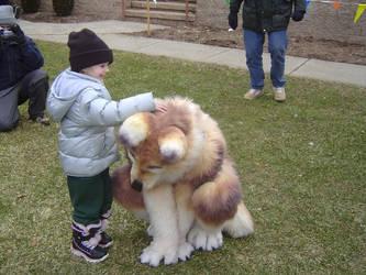 kiowolf being pet by Ashtale