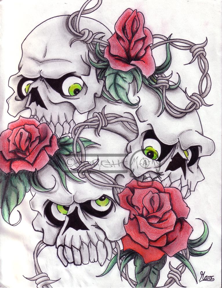 Skulls and flowers by llMarcll on DeviantArt