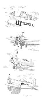 sketch avion Seagull