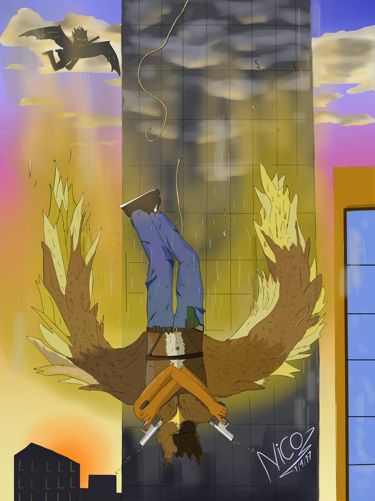 eagle furry action escene by nicowtc