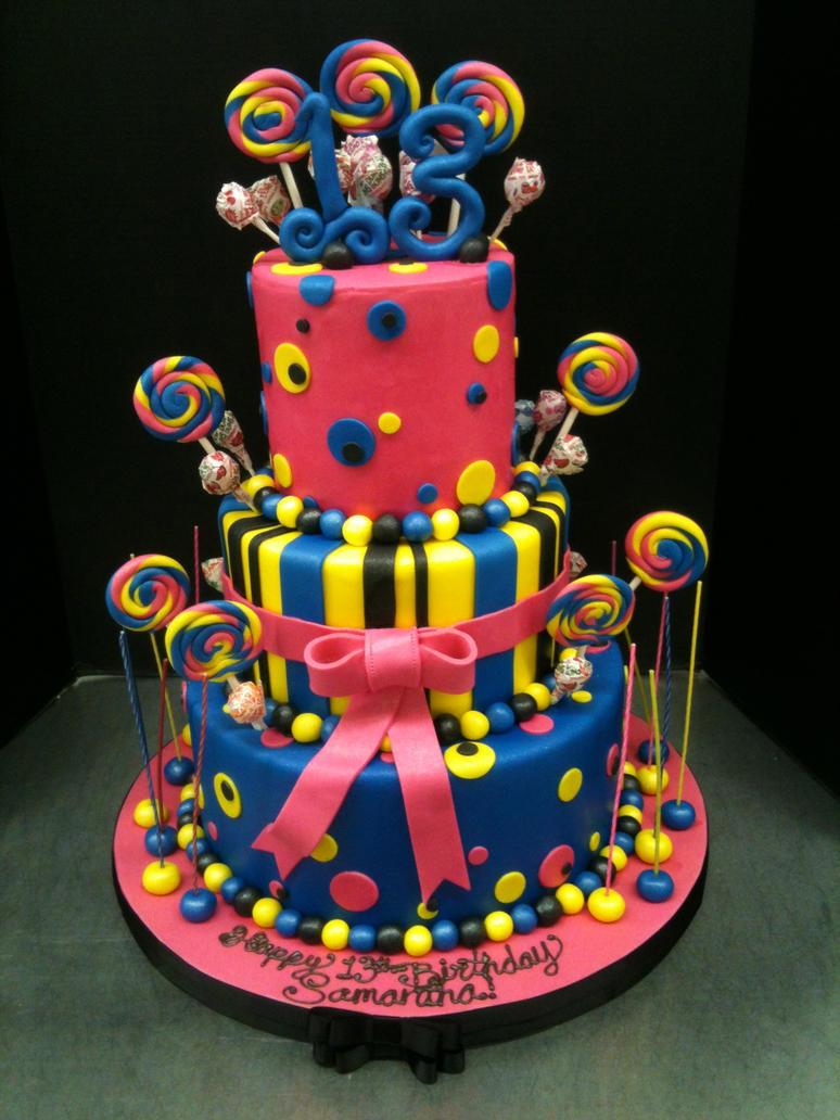Thirteenth Birthday Lolly Pop Cake By Eepoagecakes On Deviantart