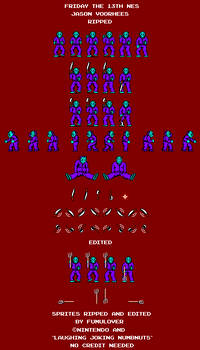Friday the 13th NES Jason Voorhees Sprite Sheet