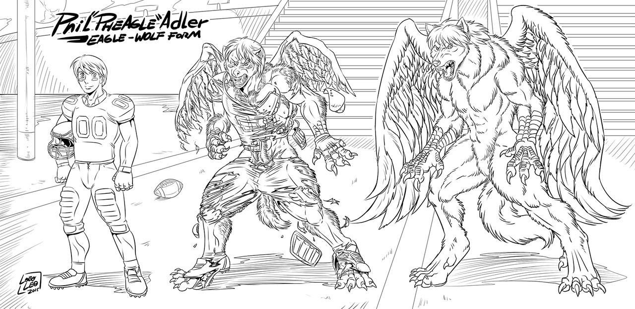 Phil ''Pheagle'' Adler - Eagle-Wolf Form [Ink] by Pheagle-Adler